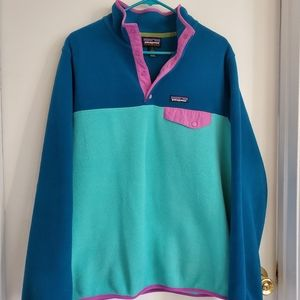 Patagonia Synchilla Pullover Fleece Teal & Pink